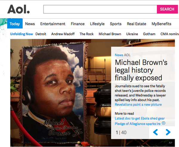 .@AOL's offensive, misleading headlines finally go too far. #MichaelBrown See pic then story: http://t.co/VNp9qbg9Qk http://t.co/i1WZ8QkyHE