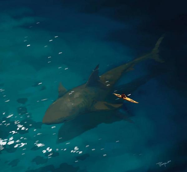 This is what it could look like if megalodon sharks were around today. http://t.co/bok08gErBl