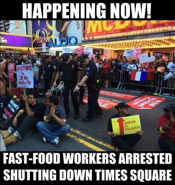 Happening Now. Fast-food Workers Shutting Down Times Square.  #BOYCOTTFastFood #StrikeFastFood http://t.co/P5MYAAF9C2