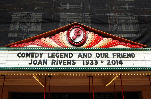 Glad our stage was graced with the fabulously hilarious #JoanRivers on multiple occasions! RIP http://t.co/5ebXktP6gs