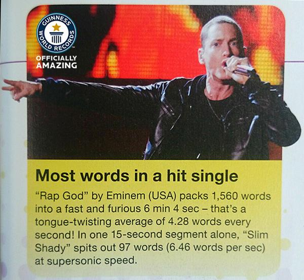 Most words in a hit single - congratulations to @Eminem who appears in our #gwr60 book! http://t.co/gAw7EGRg6G http://t.co/s5hMJG63L5