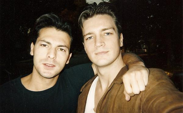 Young @NathanFillion and I, setting out to conquer the world.  Circa '95.  #tbt #ActualFilmSelfie http://t.co/qENRtaqNjC
