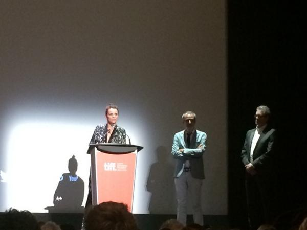 Juliet Binoche, Olivier Assayas and Piers Handling at prem of Clouds of Sils Maria. #TIFF14 http://t.co/f3x67GYRh7