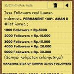 RT @Jasaup_: JUAL FOLLOWERS INDONESIA PERMANEN Minat? HUB: 0896-3364-7366 / 25CDC33E VIA PULSA http://t.co/I29jZ7EnJi #ProudOfYouSBY #menkominfo