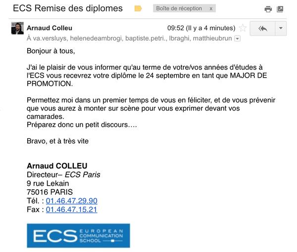 Bref, je suis major de ma promo master 2 digital . C'est plus qu'une victoire . Merci à l'@ECSParis #LarmesAuxYeux http://t.co/j6UCoBNsw6