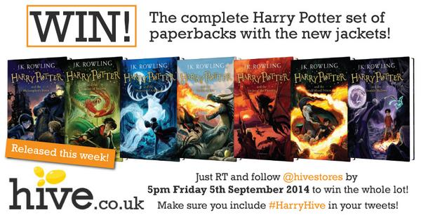 Fancy winning the new set of #HarryPotter books released this week? Deets attached - go for it! RT + #HarryHive http://t.co/DWLArVdoSO