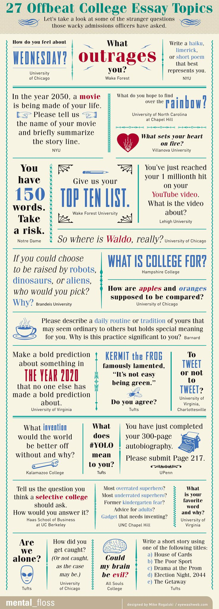 Here are some of the more interesting college essay questions admissions officers have asked. http://t.co/BK8Zs4naTr