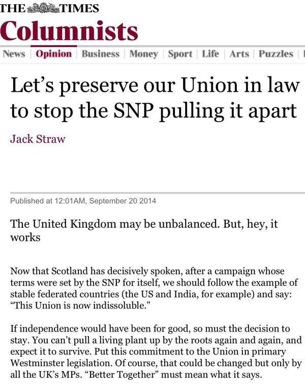 Jack Straw want to stop us getting chance to #voteyes ever again.  http://t.co/en6omWNQxJ