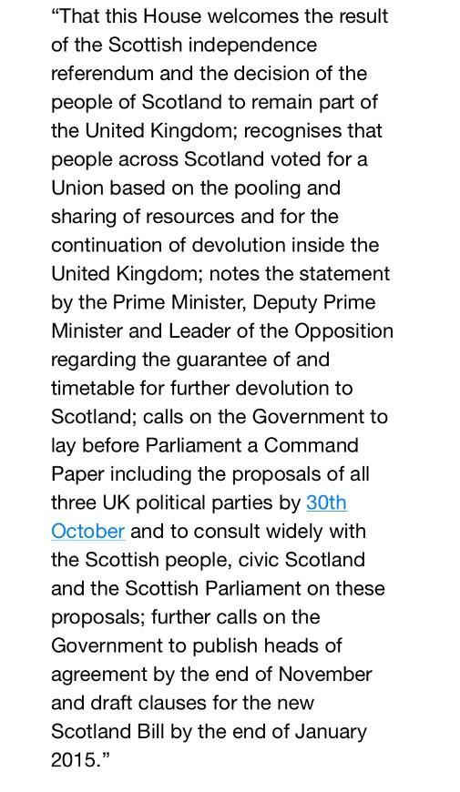 Motion on Scottish devolution agreed by Party Leaders - look forward to playing my part in Parliament to take forward http://t.co/lBA54KTeaE