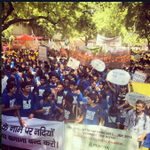 New Delhi had a colorful, historic march. Everyone wearing a #PeoplesClimate shirt. Simply beautiful. #PeoplesClimate http://t.co/LnO3T9zEV9