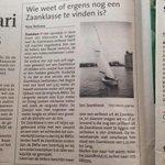 RT @DekkerZaandam: Wie weet of er nog ergens een zeilboot uit de Zaanklasse te vinden is? #dtv #zeilen http://t.co/Z1XIBf5U23