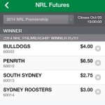 Reprice of #NRL winner @tabcomau after @NRL_Bulldogs win. Dogs 41-4 in just over a week. @ThatJimmySmith http://t.co/q53LPGqGLH