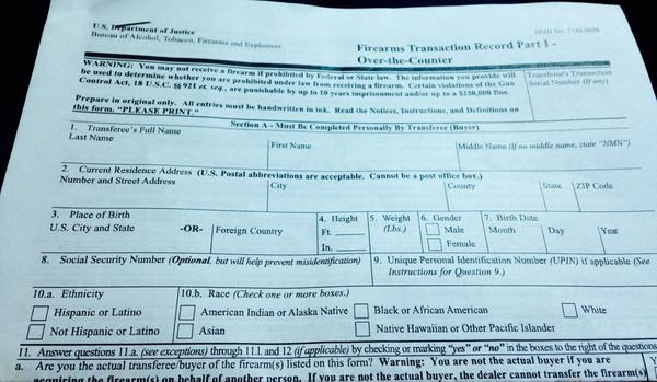 This Is The Atf Background Check Form For Gun Buyers. The Race