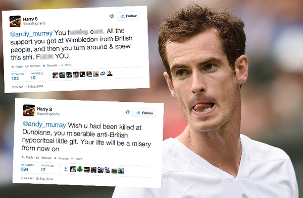 Andy Murray has been subjected to vile twitter abuse after Yes tweet http://t.co/qk1JcT9DN8 http://t.co/AotmMyv7hy