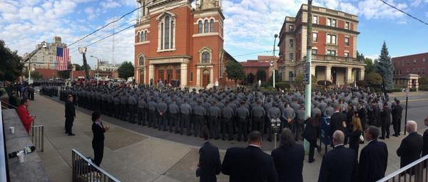 PA state troopers line up outside the funeral for Cpl Bryon Dickson in Scranton. http://t.co/NChGyHnmH1