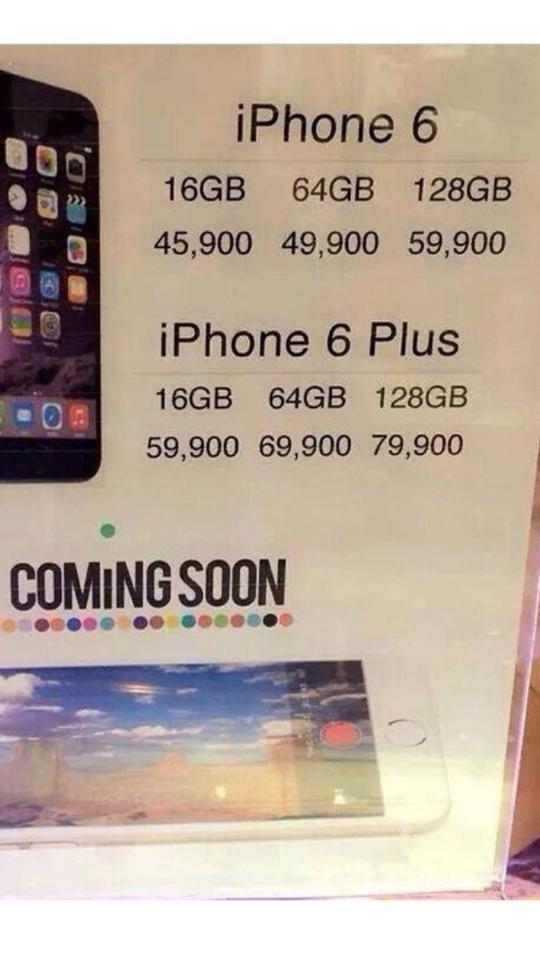 ราคาไอโฟน 6 เมืองไทย ... ซื้อคอนโดดีกว่าไหมครับ o_O http://t.co/7gZeD5eM5I