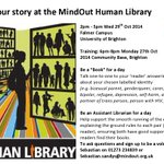 RT @Mind_Out: Volunteer at our Human Library and challenge #mentalhealth #stigma on 29/10 at Brighton Uni - http://t.co/Lq04HDDD7i http://t.co/52C3rJ3E6Z