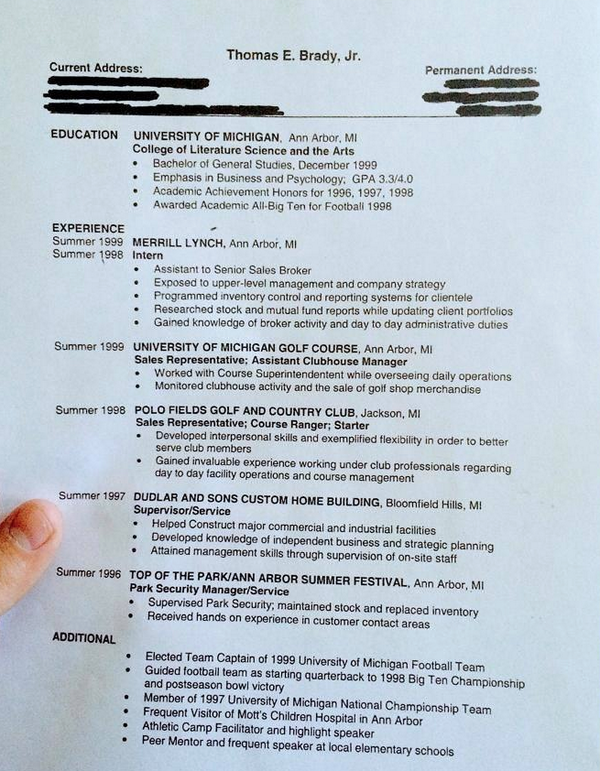 Awesome: thomas e. brady, jr\'s resume before nfl career (via ...