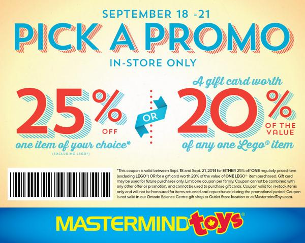 PICK A PROMO WEEKEND! Save 25% on any 1 item + bonus LEGO offer: http://t.co/hWR2mftG9x http://t.co/okcQOnJX1e
