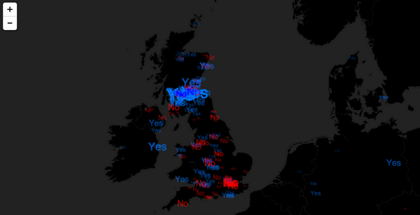 Here's a live map of #indyref yes/no related tweets - http://t.co/DXIk1DuWee pretty cool! Not a voting gauge! http://t.co/YoR4hn6kQx