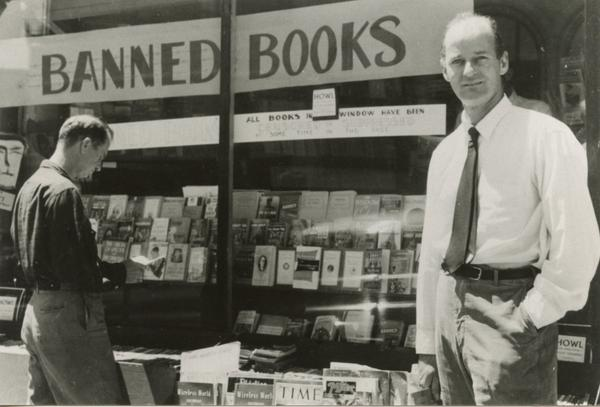 #tbt 1958 Lawrence Ferlinghetti/ @CityLightsBooks Banned Books display, well before #BannedBooksWeek became a thing http://t.co/FJxaWTTw0K