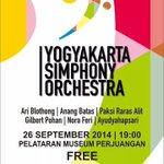 26/9/14 19.00 Konser Musik w/ Yogyakarta Simphony Orkestra di Plataran Museum Perjuangan | Gratis http://t.co/D9uqQkSBQY - @infosenijogja