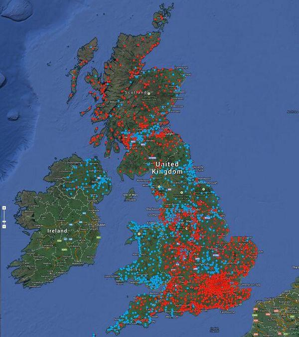 Neat map showing where people support #Scotland becoming independent (blue = yes; red = no) via @randal_olson http://t.co/0GfS9QQaXf