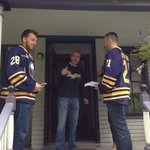 Im Finding a new team @BuffaloSabres: .@zemgus94 & Drew Stafford deliver season tickets to Donn Esmonde. #SabresSTH http://t.co/YVE8ro4oVj