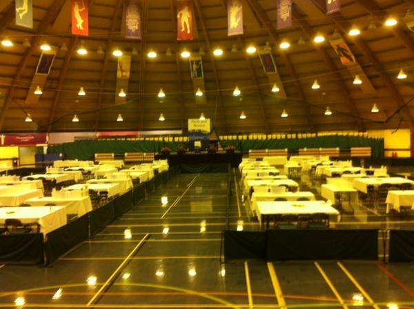 All set up ready for the count in Perth. #indyref http://t.co/27XmsqWvTi