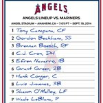 RT @Angels: Tonights #Angels lineup vs Seattle at 7:05 pm PT. LHP Wade LeBlanc replaces Weaver to start for the AL West Champs. http://t.co/gGe2NLMcNJ