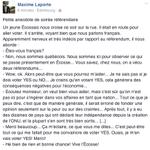 Anecdote dun Québécois en Écosse ! Via le facebook de @Maxime_Laporte #VoteYes http://t.co/wP63cU1rv2