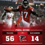 Thats the end of the game. Final: Falcons 56, Bucs 14 #TBvsATL #TNF http://t.co/Lv3lpJS3SM