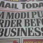 RT @gauravcsawant: PM Modi Puts Border Before Business. Great Headline :)) #MailToday @sandeep_bamzai http://t.co/36BrUJRJ7R