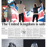 RT @Telegraph: The United Kingdom is safe. @Telegraph front page: 19th September 2014 http://t.co/UUfFnAp3mA http://t.co/TwZTUkvRup