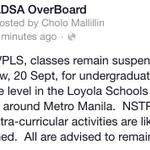RT @ADSAOverBoard: Classes remain suspended tomorrow, September 20, 2014 due to flooding in Metro Manila. http://t.co/tYRslsfKDc