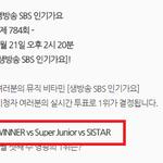 """@kor_celebrities: 今週の「人気歌謡」1位候補(9/21) WINNER vs Super Junior vs SISTAR http://t.co/lvrQeJmR3w"" なむそんMCだからぜひとも1位を。゚(゚^ω^゚)゚。"