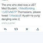 The one who died was a UST Med student | Dangling live wire along España | via @shanechug | URGENT @meralco http://t.co/gVeSDC16i8