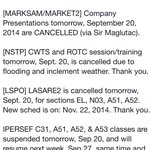 RT @dlsu_cgb: RVR COB! Please take note of the following regarding suspensions for Sept 20, 2014, Saturday! Thank you! Stay safe ???? http://t.co/qyAquxWUmE