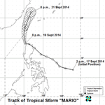 RT @ANCALERTS: Tropical Storm Mario has slightly slowed down while moving over the Luzon Strait. #MarioPH http://t.co/jXgAwQajJF