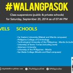 Class Suspensions for Saturday, September 20, 2014 as of 7:44 PM #WalangPasok #MarioPH http://t.co/0KBXekMTFg