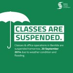 RT @BenildeCSG: Classes & office operations in Benilde are suspended tomorrow. #walangpasok http://t.co/4U7Z44gAcS