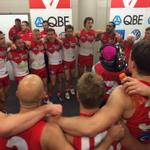 Sing it with gusto tonight! Cheer, cheer #goswans #AFLFinals http://t.co/OL2k5dRM6R