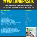 RT @PhilippineStar: Updated list of Class Suspensions for Saturday, September 20, 2014 as of 8:30 PM #WalangPasok #MarioPH http://t.co/OnJdV03IbN