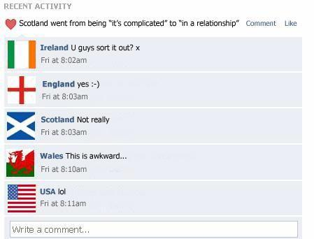 [PIC] - Hahahaha! This is hilarious! #Scotland updated its @Facebook's relationship status...  #ScotlandDecides http://t.co/EbeyUicwv6