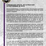 Comunicado oficial de Ultras Sur: https://t.co/wcxJbMk6Lf