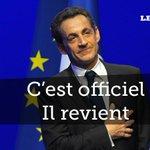 RT @Le_Figaro: ALERTE - @NicolasSarkozy annonce son retour et sa candidature à la présidence de lUMP >> http://t.co/pjQaDJC9D8 http://t.co/lLxMzijnFi