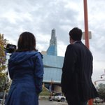 Thats @karenpaulscbc and @CamMacIntoshCBC in front of the @CMHR_News this morning. #cbcmb http://t.co/WOnX8QpxxY