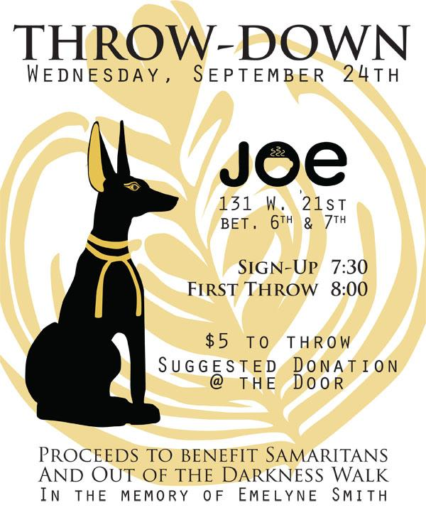 Join us Wed, 9/24 for a charity throwdown in support of suicide prevention, 7:30, $5 buy in, at @joe_proshop. Beer. http://t.co/H0NNDbHH6h