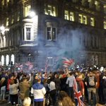 Flares being set off as Queen Street station shuts its doors. #Glasgow #georgesquare http://t.co/fs7Cz0gkR4