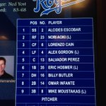 RT @Royals: Heres how the #Royals line up against the Tigers tonight. http://t.co/STU8eFybZQ